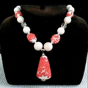 c1930s-'50s White Milk Glass w Coral Sprinkle Bead